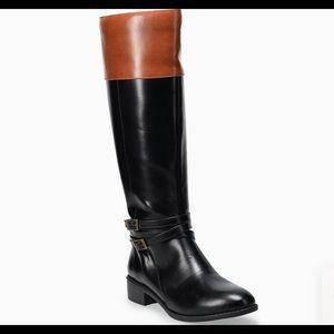 NWT SO Trixie Women's Riding Boot Black & Cognac